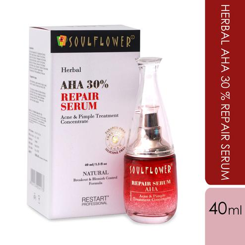 Soulflower Herbal AHA 30% Repair Serum-Acne-Pimple Treatment Concentrate-40ml