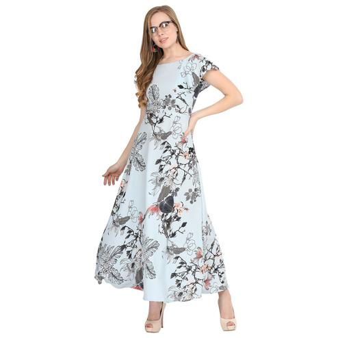 Adorable Light Blue Colored Partywear Cape Sleeve Floral Printed Crepe Maxi Dress
