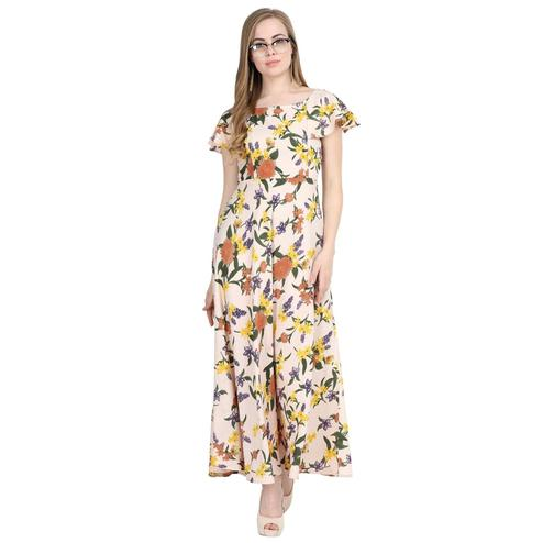 Glorious Beige Colored Partywear Cape Sleeve Floral Printed Crepe Maxi Dress