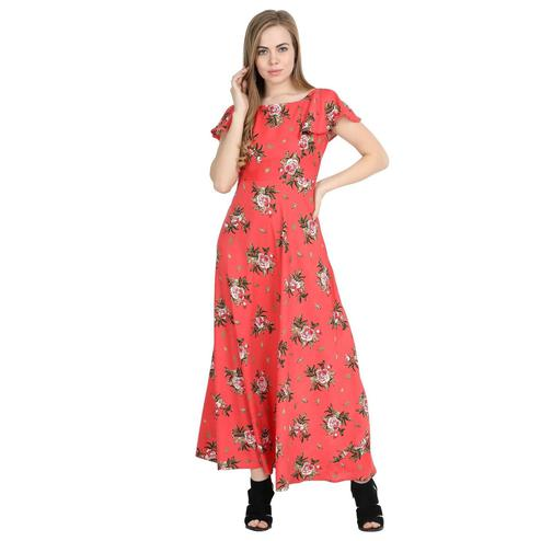 Attractive Red Colored Partywear Cape Sleeve Floral Printed Crepe Maxi Dress