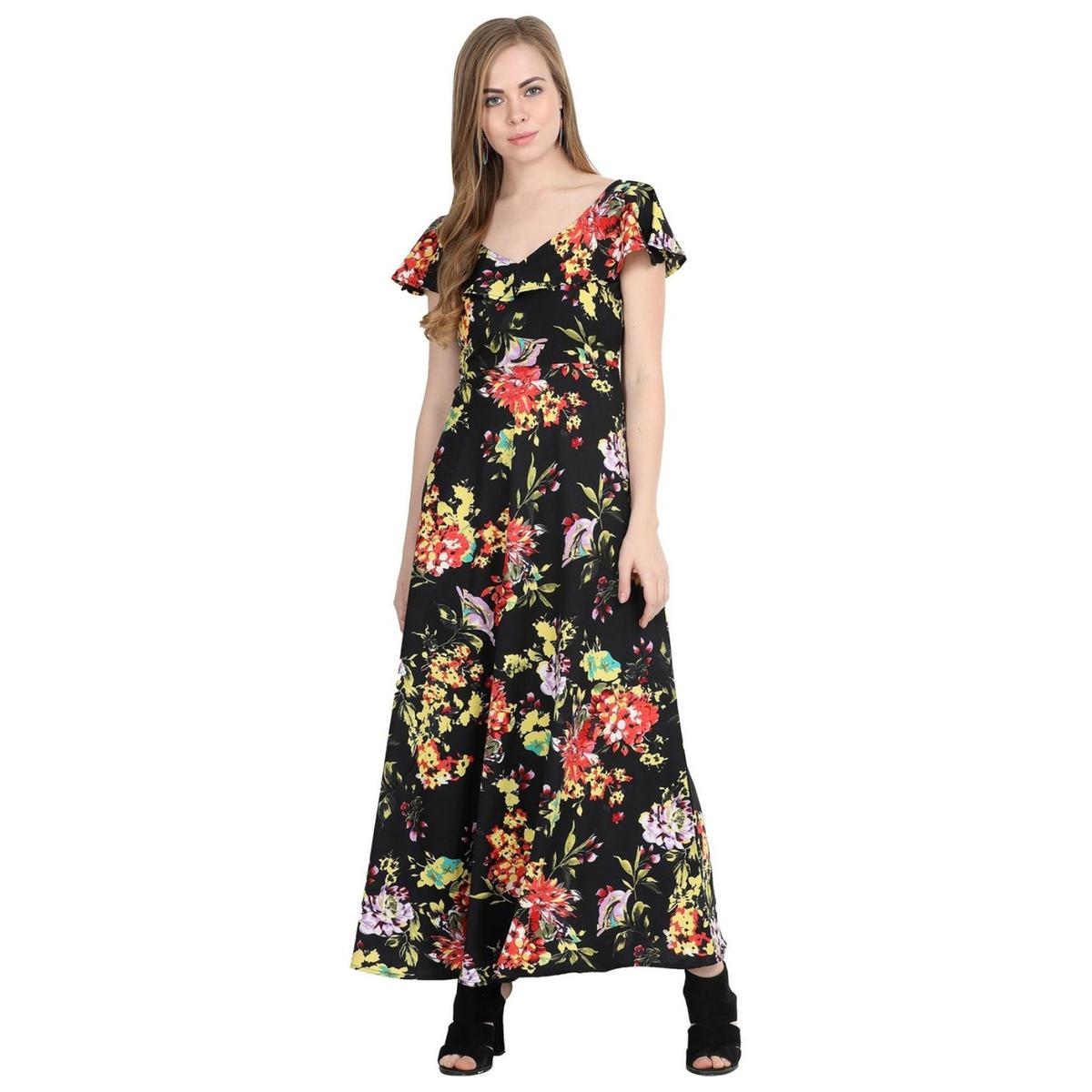 Beautiful Black Colored Partywear Cape Sleeve Floral Printed Crepe Maxi Dress
