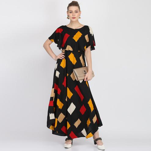 Delightful Multi Colored Partywear Cape Sleeve Printed Crepe Maxi Dress