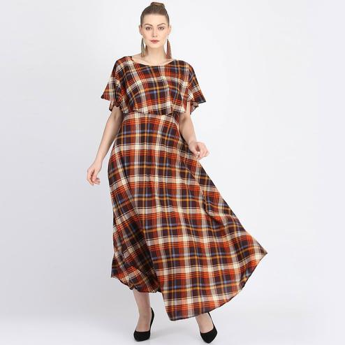 Engrossing Multi Colored Partywear Cape Sleeve Checked Printed Crepe Maxi Dress