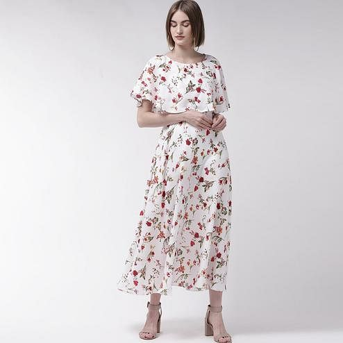 Eye-catching White Colored Partywear Cape Sleeve Floral Printed Crepe Maxi Dress