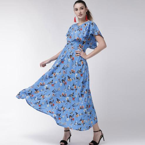 Amazing Blue Colored Partywear Cape Sleeve Floral Printed Crepe Maxi Dress