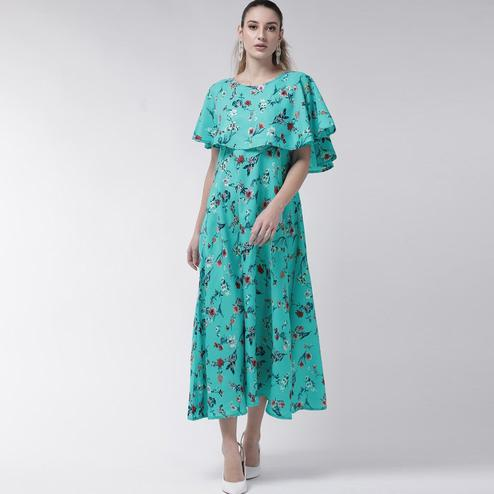 Gorgeous Turquoise Green Colored Partywear Cape Sleeve Floral Printed Crepe Maxi Dress
