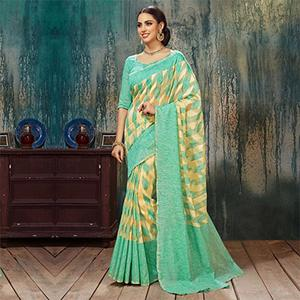 Sea Green Woven Work Silk Saree