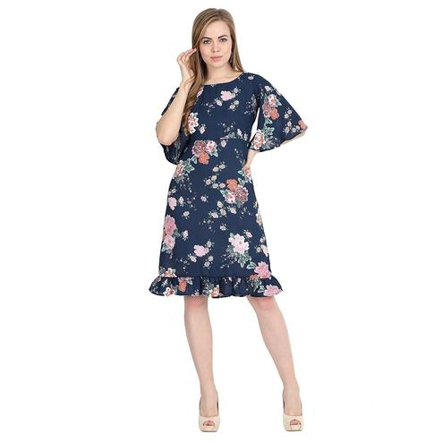 Ideal Dark Blue Colored Partywear Bell Sleeve Floral Printed Crepe A Line Dress