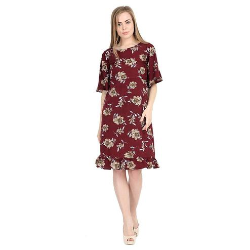 Imposing Maroon Colored Partywear Bell Sleeve Floral Printed Crepe A Line Dress