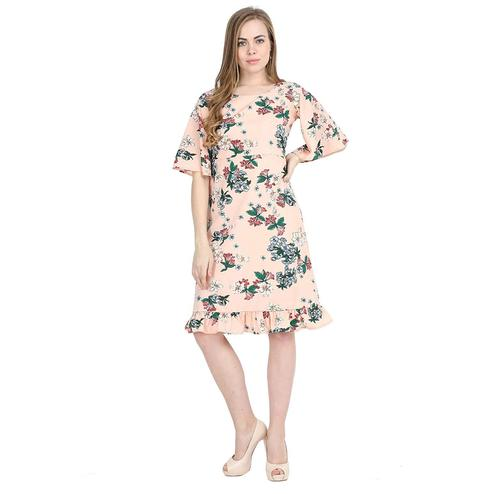 Lovely Peach Colored Partywear Bell Sleeve Floral Printed Crepe A Line Dress