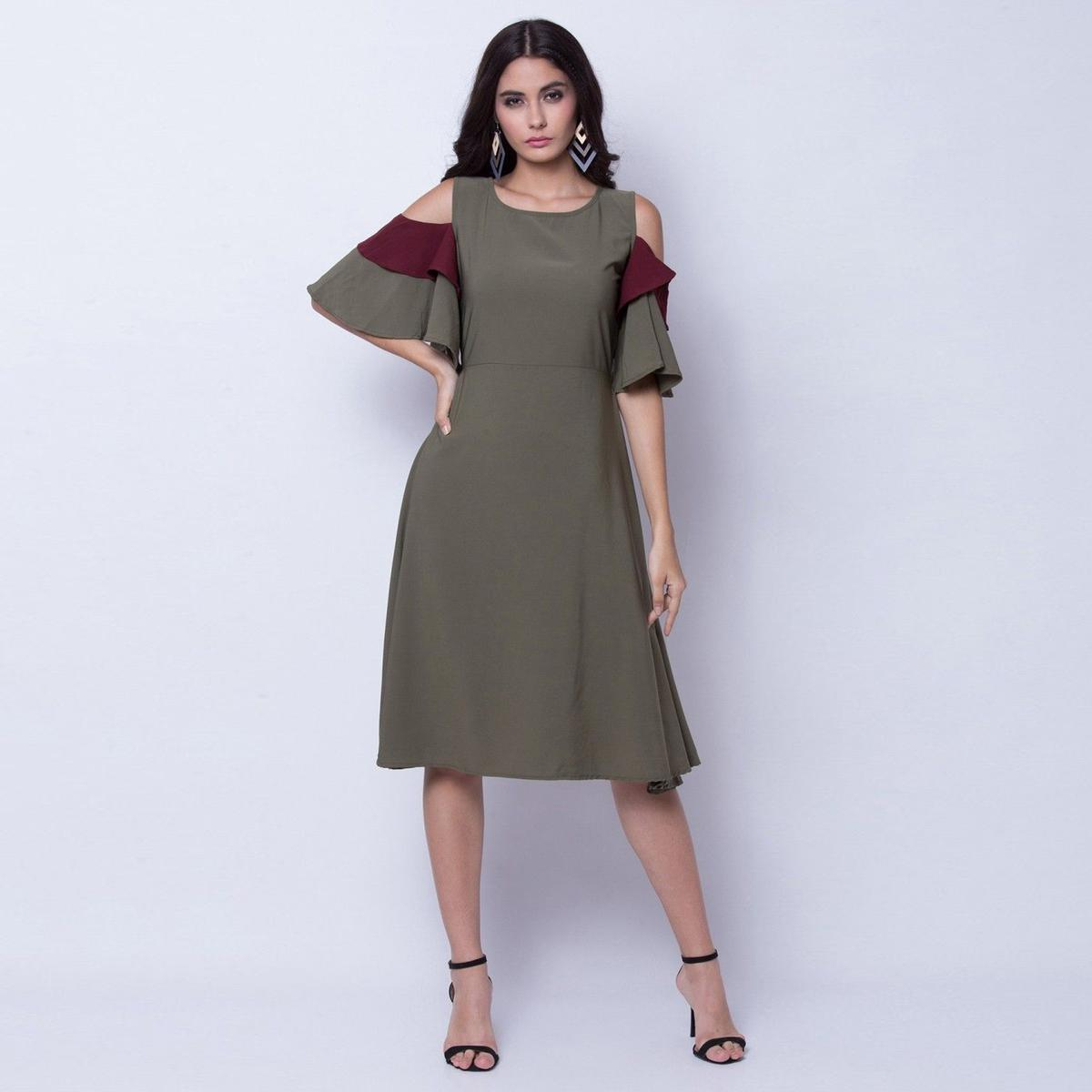Mesmerising Green Colored Partywear Cold Shoulder Crepe A Line Dress