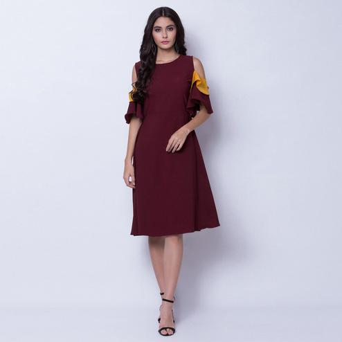 Breathtaking Maroon Colored Partywear Cold Shoulder Crepe A Line Dress