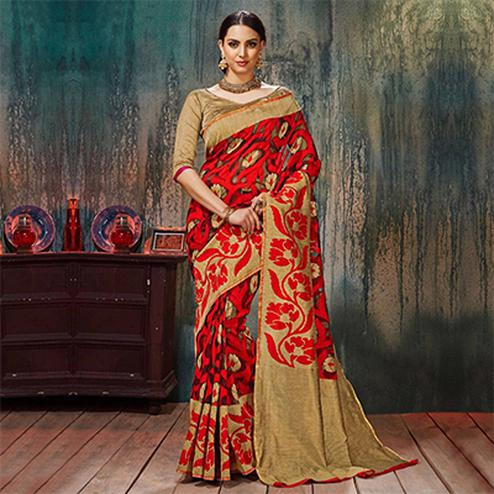 Red - Beige Floral Woven Work Saree