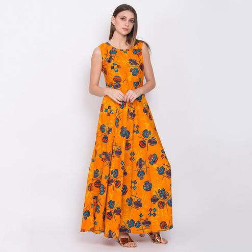 Arresting Orange Colored Partywear Sleeveless Printed Crepe Maxi Dress