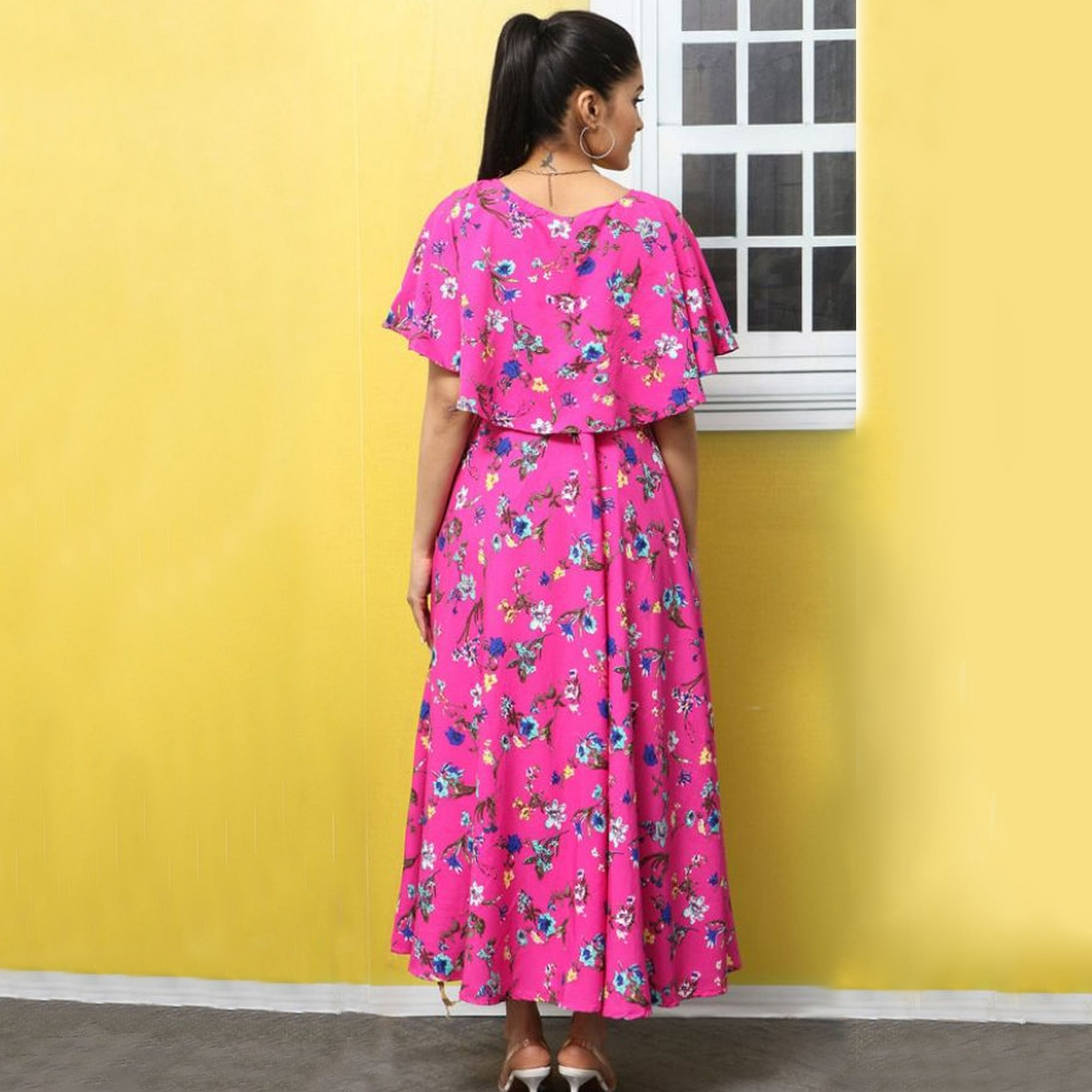 Exotic Pink Colored Partywear Cape Sleeve Floral Printed Crepe Maxi Dress