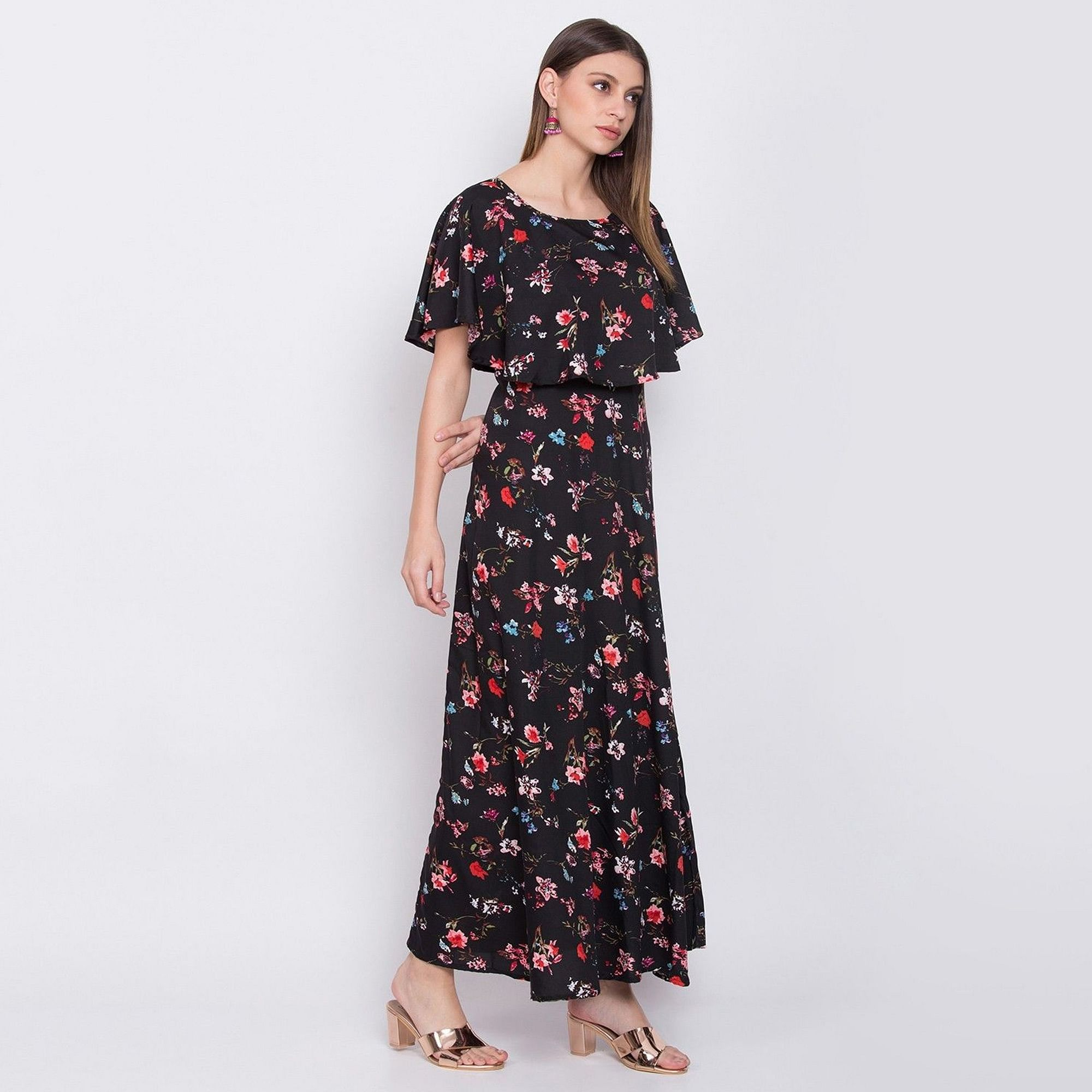 Trendy Black Colored Partywear Cape Sleeve Floral Printed Crepe Maxi Dress
