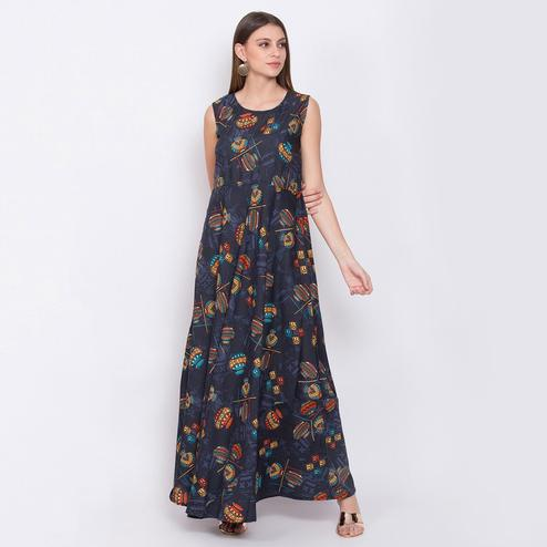 Radiant Blue Colored Partywear Sleeveless Printed Crepe Maxi Dress