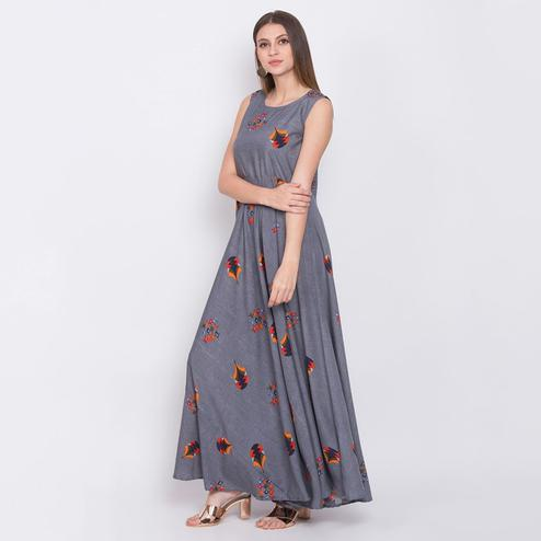 Pleasant Grey Colored Partywear Sleeveless Printed Crepe Maxi Dress