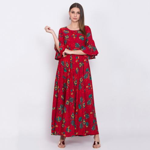 Gleaming Red Colored Partywear Bell Sleeve Printed Crepe Maxi Dress
