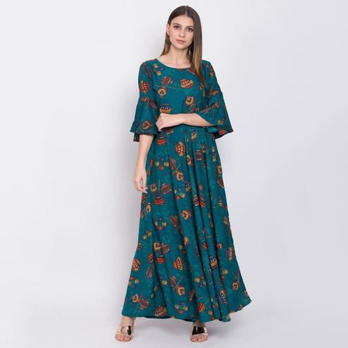 Mesmeric Teal Blue Colored Partywear Bell Sleeve Printed Crepe Maxi Dress