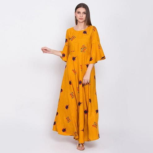 Unique Mustard Yellow Colored Partywear Bell Sleeve Printed Crepe Maxi Dress