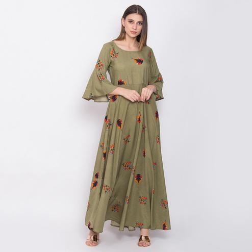 Demanding Light Olive Green Colored Partywear Bell Sleeve Printed Crepe Maxi Dress