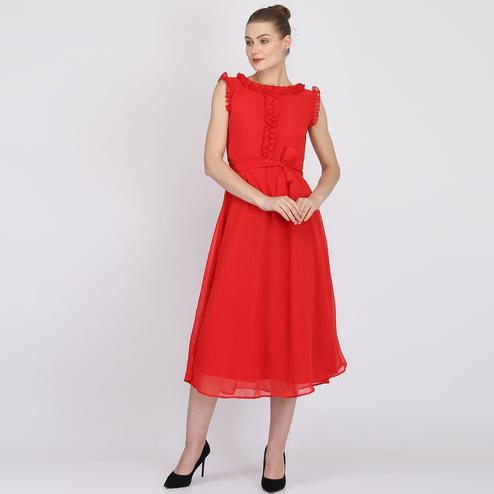 Flattering Red Colored Partywear Sleeveless Georgette Midi Dress