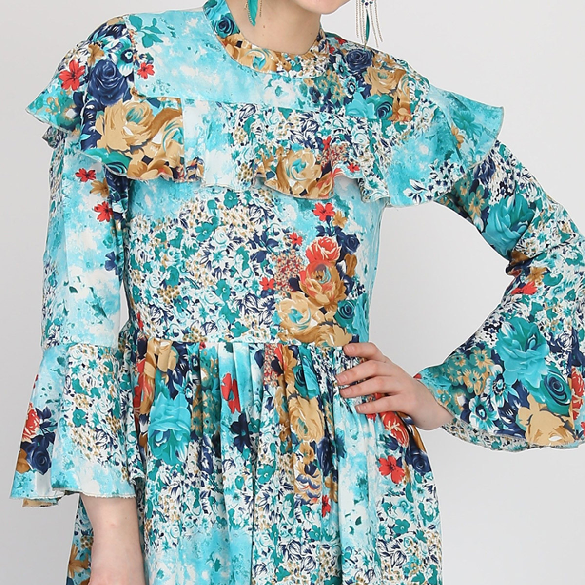 Glorious Blue Colored Partywear Bell Full Sleeve Floral Printed Crepe Maxi Dress