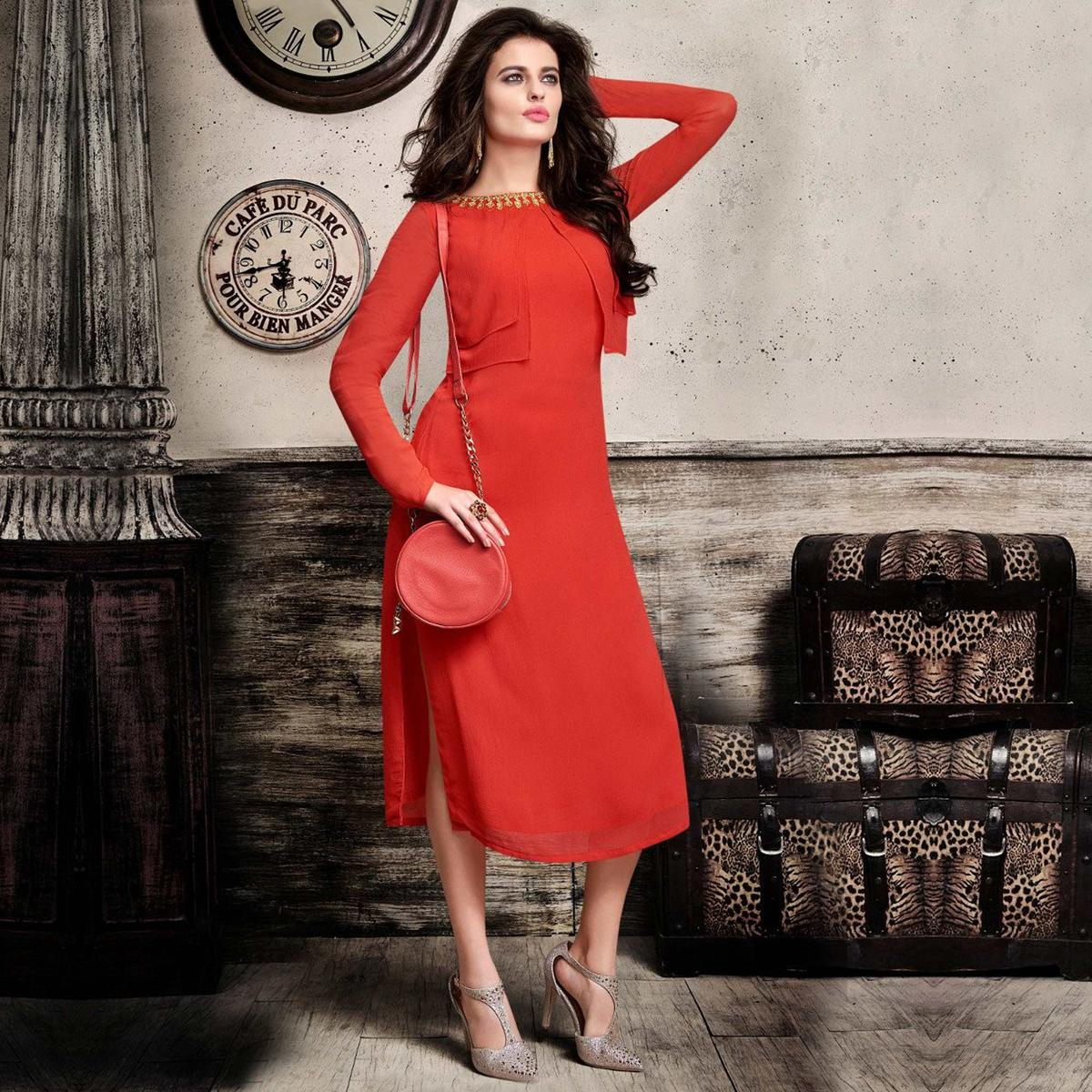 Red Premium Georgette Layered Kurti