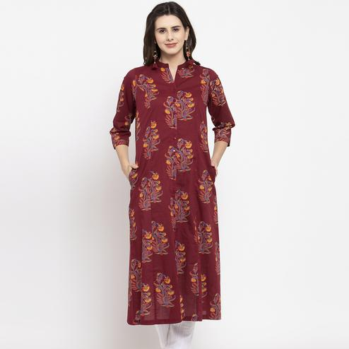 Arresting Maroon Colored Casual Wear Printed Cotton Kurti