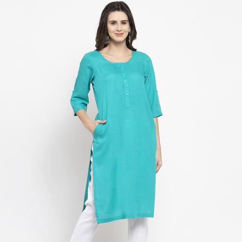 Desirable Sky Blue Colored Casual Wear Cotton Kurti