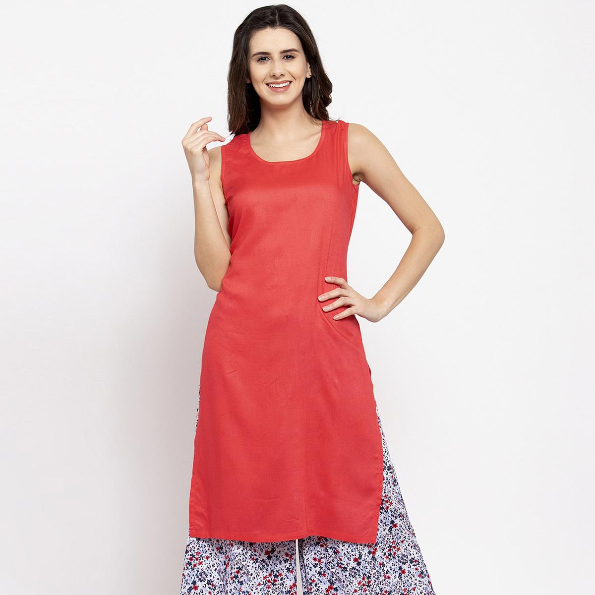 Exotic Coral Red Colored Casual Wear Off Sleeves Side Slit Cotton Kurti