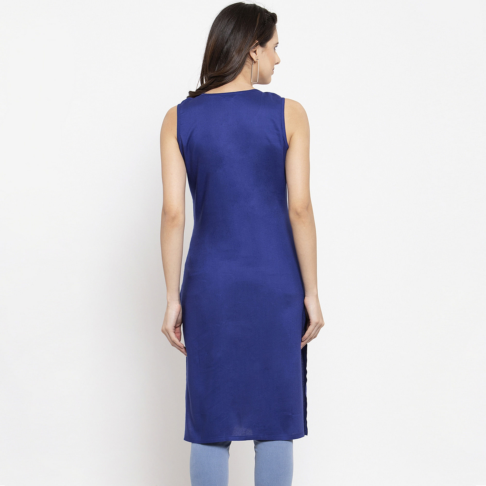 Sophisticated Blue Colored Casual Wear Off Sleeves Side Slit Cotton Kurti