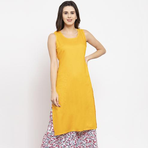 Trendy Mustard Yellow Colored Casual Wear Off Sleeves Side Slit Cotton Kurti
