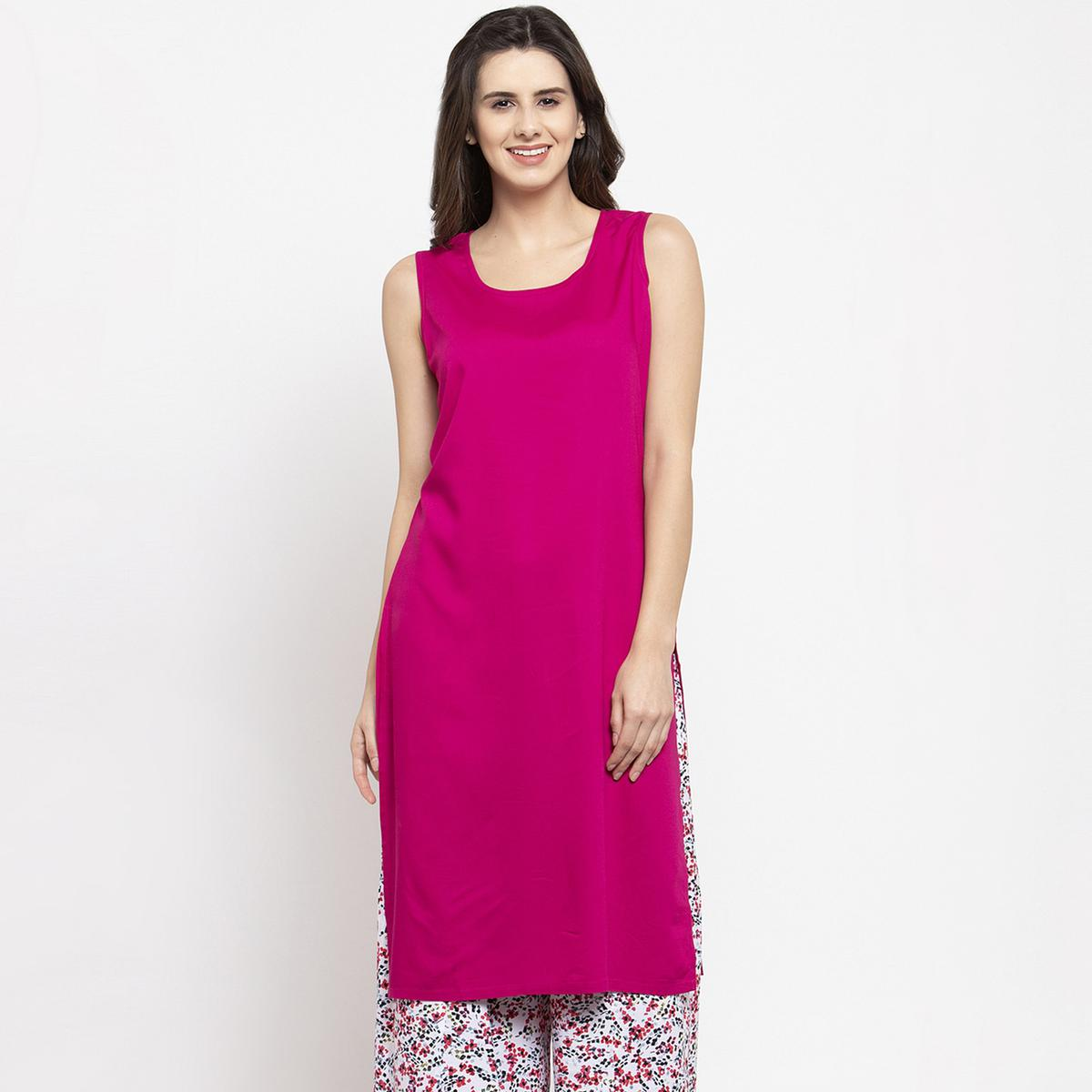 Elegant Pink Colored Casual Wear Off Sleeves Side Slit Cotton Kurti