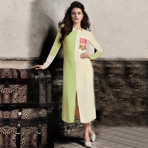 Green - Cream Embroidered Kurti