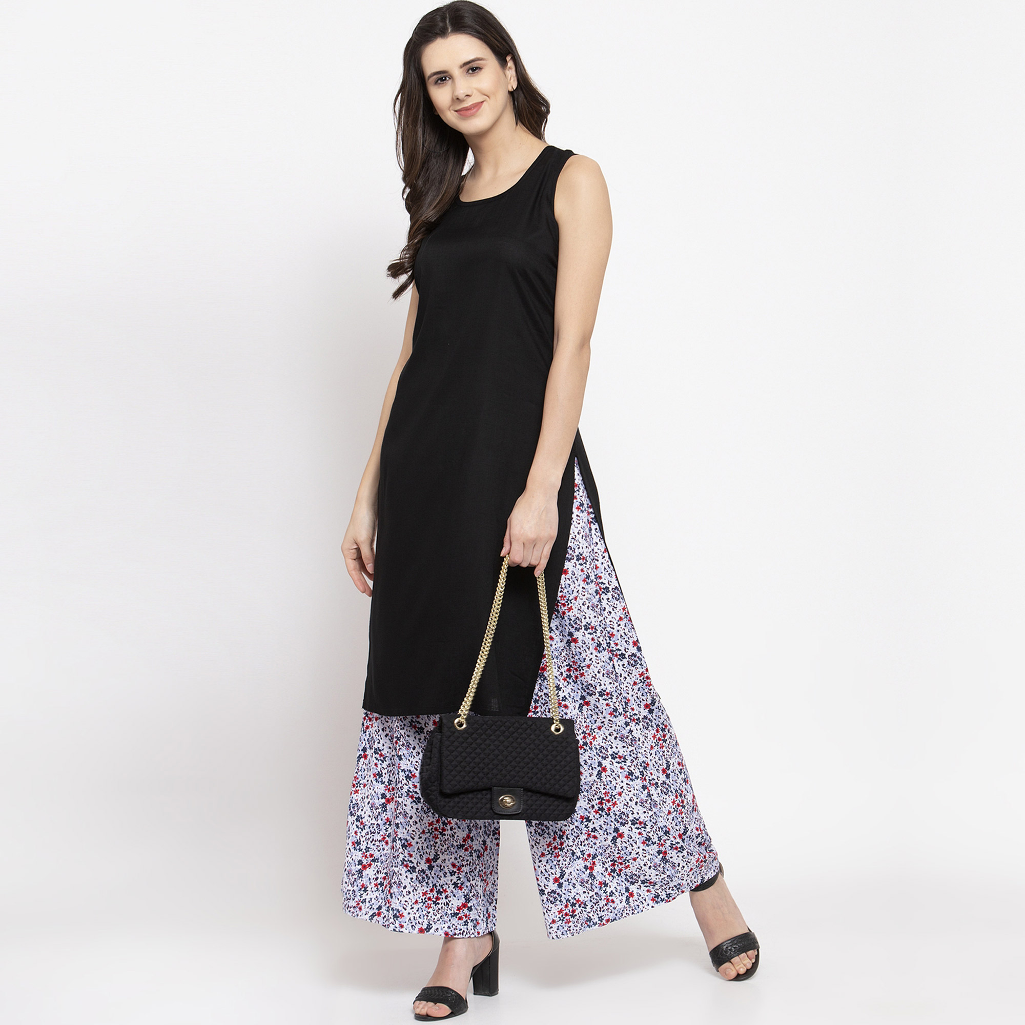 Radiant Black Colored Casual Wear Off Sleeves Side Slit Cotton Kurti