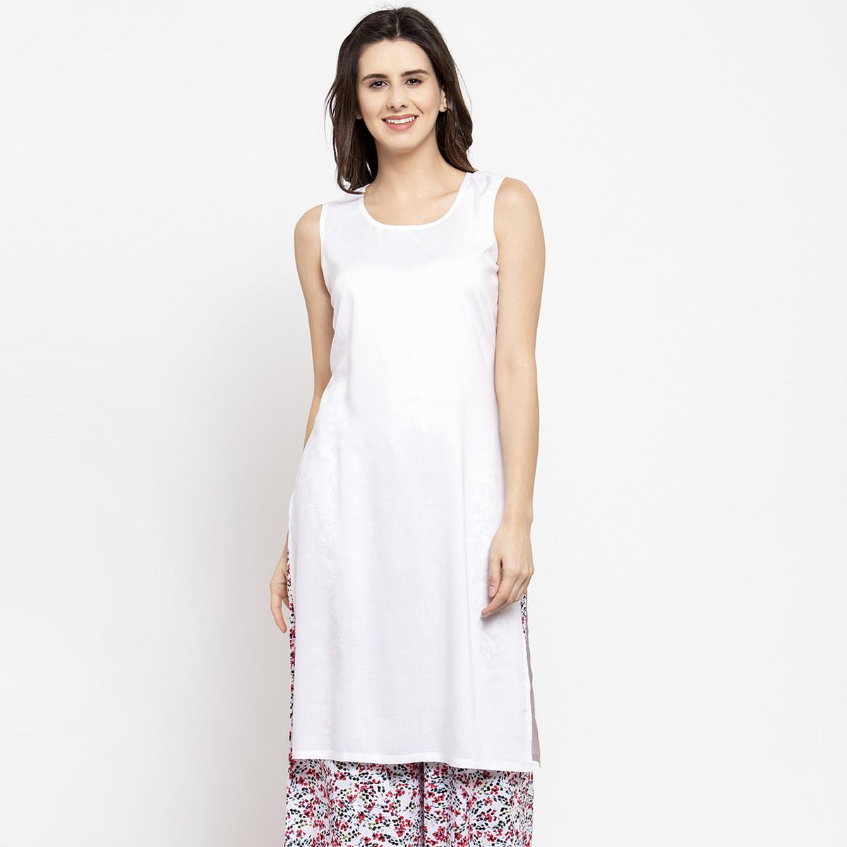 Pleasant White Colored Casual Wear Off Sleeves Side Slit Cotton Kurti