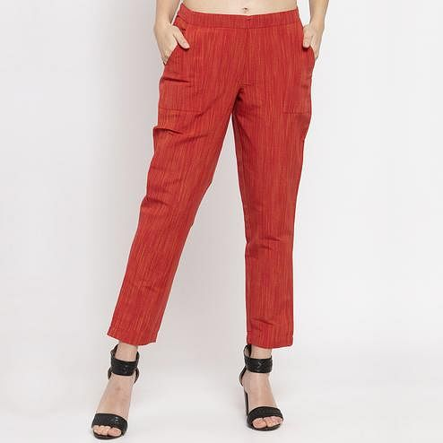 Prominent Red Colored Casual Wear Mid-Rise Cotton Pant