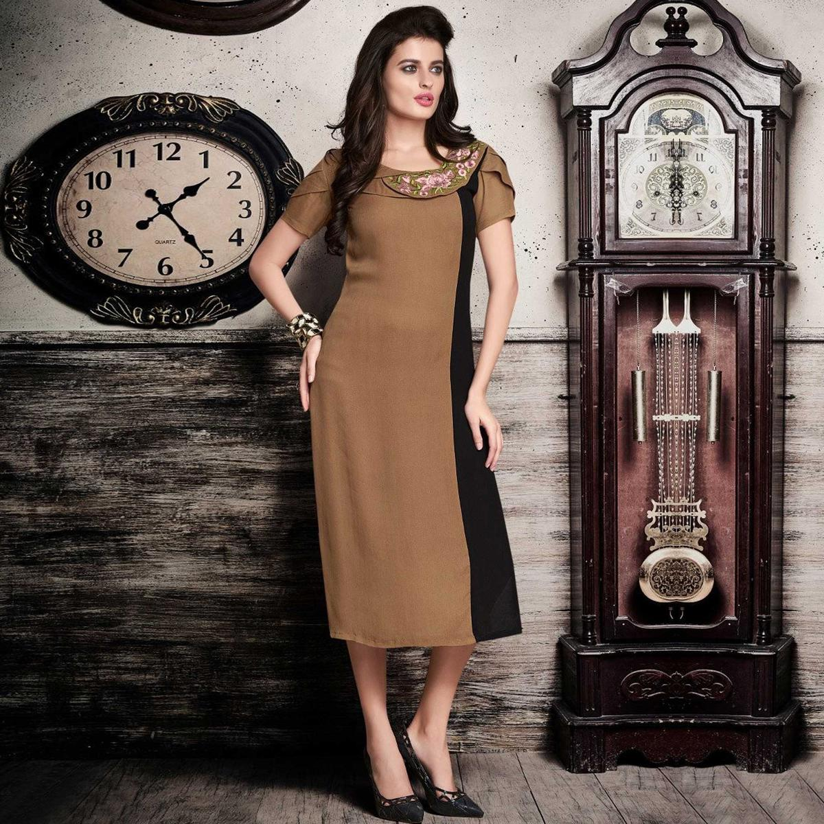 Brown - Black Embroidered Work Kurti