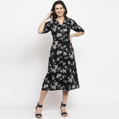 Opulent Black Colored Casual Wear Floral Printed Cotton Western Dress
