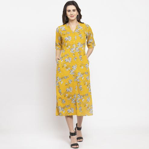 Energetic Yellow Colored Casual Wear Floral Printed Cotton Western Dress