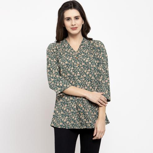 Adorable Hunter Green Colored Casual Wear Printed Cotton Western Top