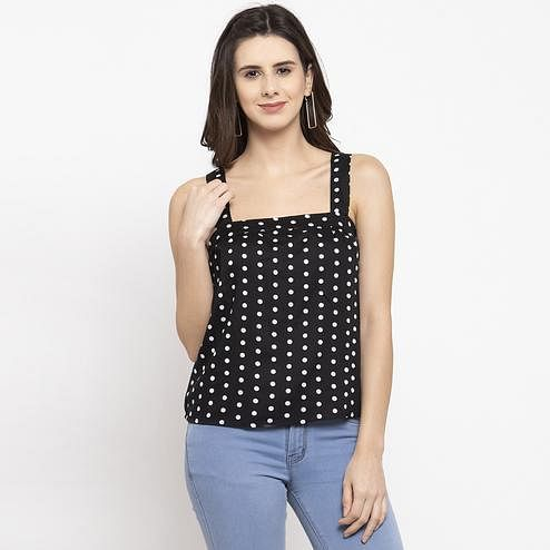 Groovy Black Colored Casual Wear Printed Cotton Western Top