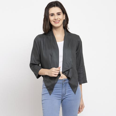 Alluring Olive Colored Casual Wear Stylish Cotton Shrug