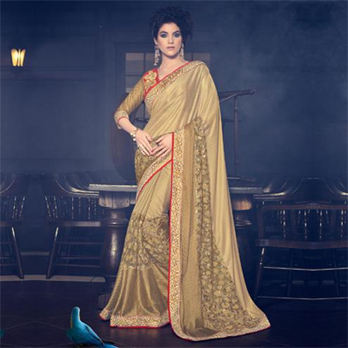 Golden Net & Fancy Fabric Saree