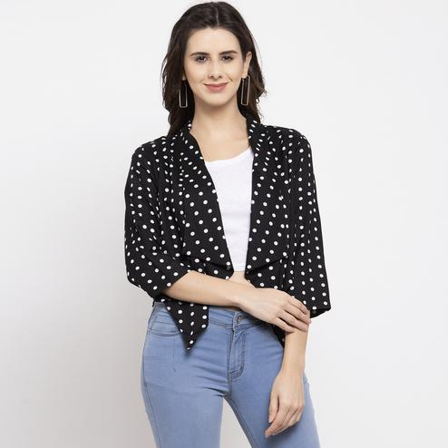 Sensational Black Colored Casual Wear Printed Stylish Cotton Shrug
