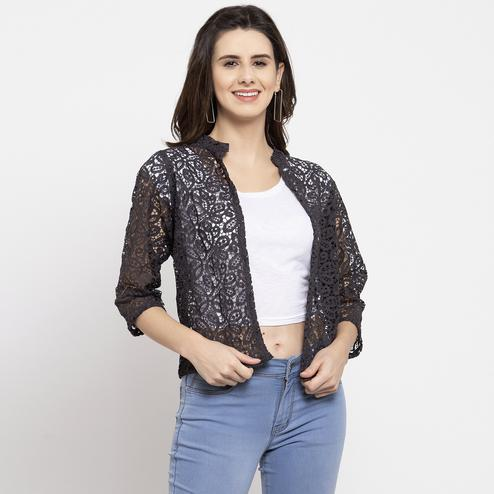 Flaunt Brown Colored Casual Wear Stylish Cotton Shrug