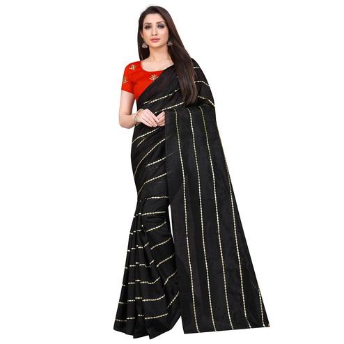 Glorious Black Colored Partywear Zoya Art Silk Saree