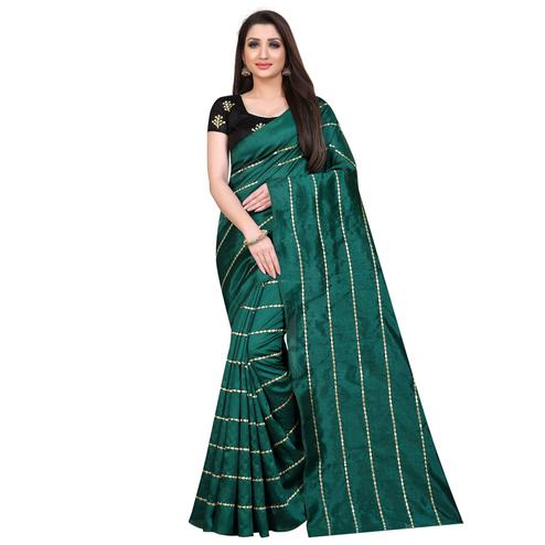 Beautiful Green Colored Partywear Zoya Art Silk Saree